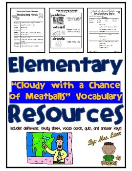 """Elementary """"Cloudy with a Chance of Meatballs"""" Vocabulary"""