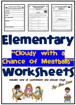 "Elementary ""Cloudy with a Chance of Meatballs"" Worksheets"