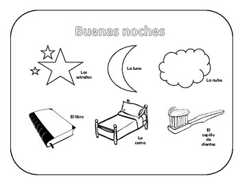 Elementary Coloring Worksheet Buenas noches