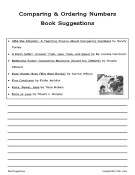 Elementary Comparing & Ordering Numbers Book Suggestions