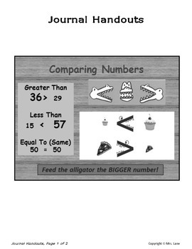 Elementary Comparing & Ordering Numbers Journal Handouts