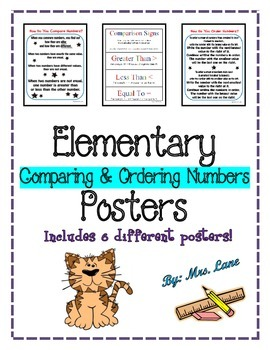 Elementary Comparing & Ordering Numbers Posters