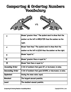 Elementary Comparing & Ordering Numbers Vocabulary Resources