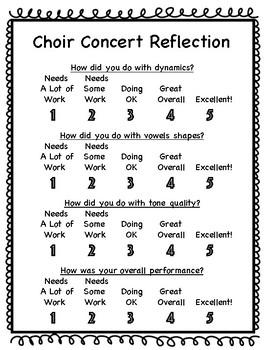 Elementary Concert Reflection- Choir Option 2
