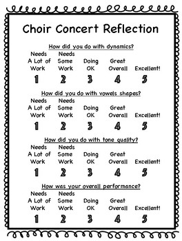 Elementary Concert Reflection- Choir Option 2