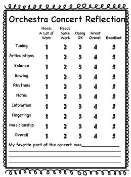 Elementary Concert Reflection- Orchestra Option 1