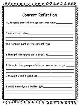 Elementary Concert Reflection- Upper Grades