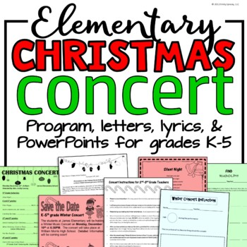 Elementary Music Christmas Concert BUNDLE: Programs, Letters, Lyrics And More!