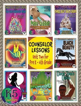 Elementary Counselor Lesson Bundle, Unit 2 for each grade (Pre K - 6th Grades)