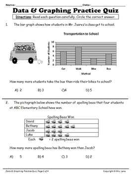Elementary Data and Graphing Reviews and Assessments
