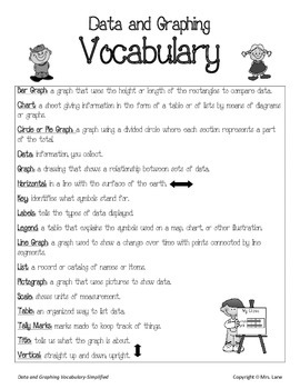 Elementary Data and Graphing Vocabulary Resources