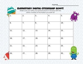 Elementary Digital Citizenship Scoot Game