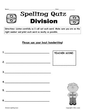 Elementary Division Spelling Resources
