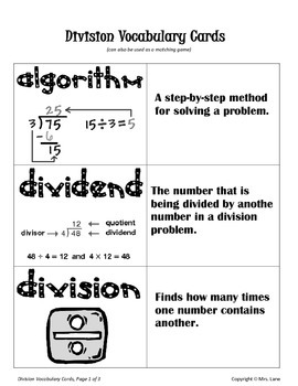 Elementary Division Vocabulary Resources