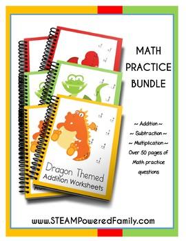 Elementary Dragon Math Worksheet Bundle