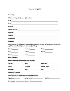 Elementary Economics Study Guide