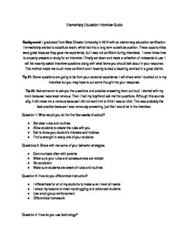 Elementary Education Interview Guide