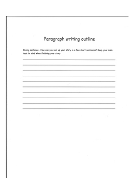 Elementary Education Paragraph Graphic Organizer