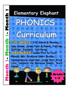 PHONICS-MONTH 1--Elementary Elephant Curriculum-Intervention/Special Ed./RTI