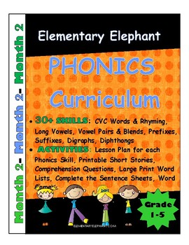MONTH 2-Elementary Elephant PHONICS Curriculum-Intervention/Special Ed./RTI