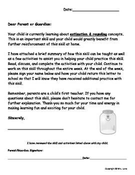 Elementary Estimation and Rounding Parent Handouts (Help At Home)