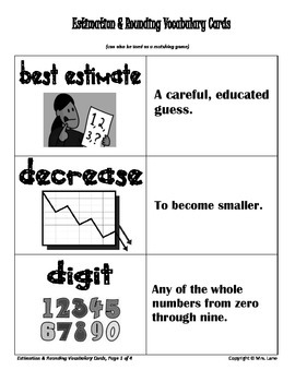 Elementary Estimation and Rounding Vocabulary Resources