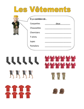 Elementary (FLES) French Clothing Packet (7 Pages)
