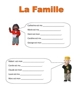 Elementary (FLES) French Family Packet (7Pages)