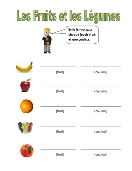 Elementary (FLES) French Fruits and Vegetables Packet (7 Pages)
