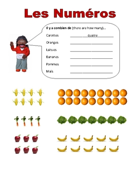 Elementary (FLES) French Numbers 1-20 Packet (7 Pages)