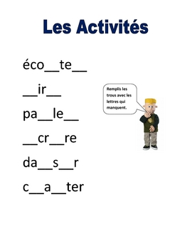 Elementary (FLES) French Verbs/Activities Packet (7 Pages)