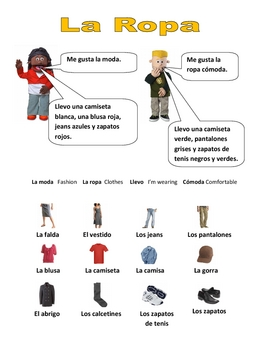 Elementary (FLES) Spanish Clothing Packet (7 Pages)