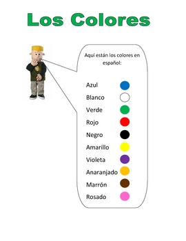 Elementary (FLES) Spanish Colors Packet (7 Pages)