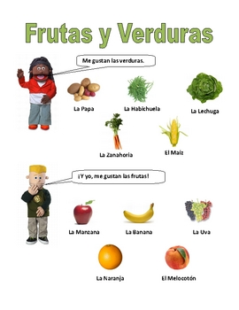 Elementary (FLES) Spanish Fruits and Vegetables Packet (7 Pages)