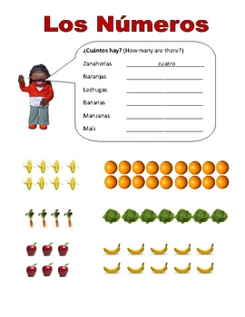 Elementary (FLES) Spanish Numbers 1-20 Packet (7 Pages)