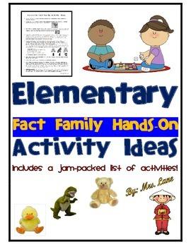 Elementary Fact Family Hands-On Activity Ideas