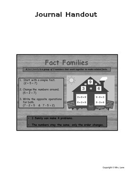 Elementary Fact Family Journal Handouts