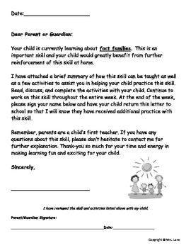 Elementary Fact Family Parent Handouts (Help At Home)