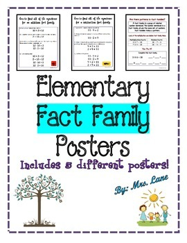 Elementary Fact Family Posters