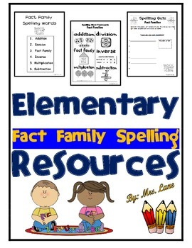 Elementary Fact Family Spelling Resources