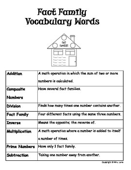 Elementary Fact Family Vocabulary Resources
