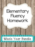 Elementary Fluency Homework Whole Year Bundle (First/Second Grade) Reading