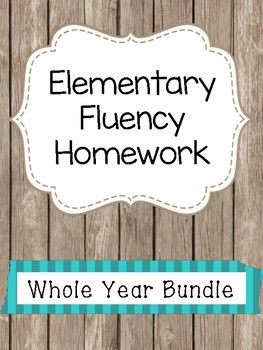 Elementary Fluency Homework Whole Year Bundle (First/Second Grade) Reading