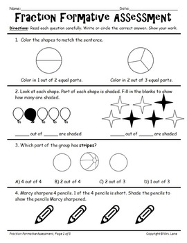 Elementary Fraction Reviews and Assessments