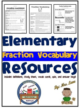 Elementary Fraction Vocabulary Resources