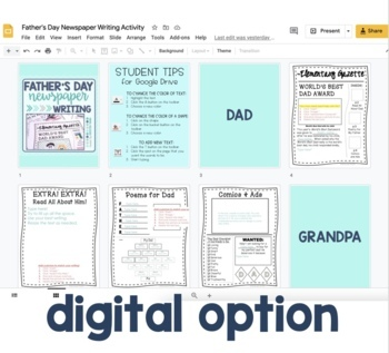 "Father's Day Newspaper Writing Activity - ""Elementary Gazette"""