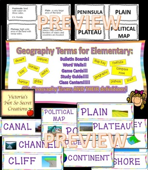 Elementary Geography Terms Bulletin boards, games, word wa