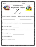 Elementary Geomentry Review: Angles, Shapes and Perpendicular Lines