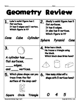 Elementary Geometry Reviews and Assessments