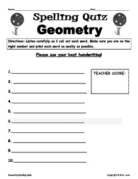Elementary Geometry Spelling Resources
